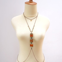 Boho Body Jewelry in Earth Color Agate Gemstone and Swarovski Crystal with Short Necklace