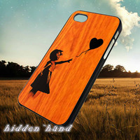 Wood Banksy Balloon Girl,Accessories,Case,Cell Phone,iPhone 5/5S/5C,iPhone 4/4S,Samsung Galaxy S3,Samsung Galaxy S4,Rubber,25/07/10/Fx