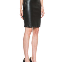 3D Filter Leather Mini Skirt in Black