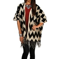 SALE-BlackTaupe Chevron Cardigan