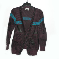 Slim vintage mens vneck 4 button coogi cardigan native american tribal purple blue pleather elbow pads grandpa 90s 80s indie hipster fashion