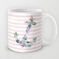 FLORAL ANCHOR IN PINK Mug by Nika