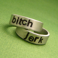 Supernatural Inspired - Bitch & Jerk - A Pair of Hand Stamped Aluminum Rings