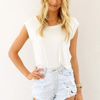 White Draped Tee with Cutout Open Back