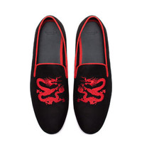 VELVET MOCCASIN WITH EMBROIDERED DRAGON