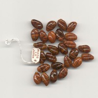 26 Rust/Brown Striped Vintage Japanese Glass Beads