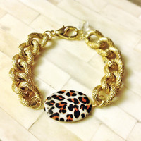 Leopard Chunky Chain Bracelet 18K Gold Plated Faux Pave Textured Thick Statement Michael Kors Marc Jacobs Designer Inspired