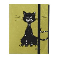Green Grunge Ragged Evil Black Cat Strap Folio