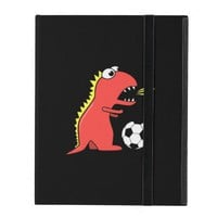 Black Funny Cartoon Dinosaur Soccer Strap Folio