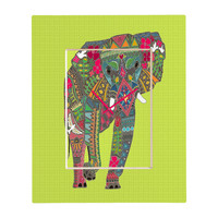 Sharon Turner Painted Elephant Chartreuse Rectangular Clock