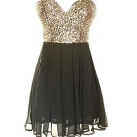 Gold Sequin Skater Dress
