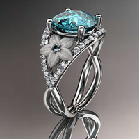 14kt white gold diamond floral engagement ring ADLR167 3.50ct blue topaz