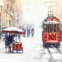 Wall decor - Red Tram, photography, winter, istanbul photo,Winter Photography, red tram, Art Print, 10x15, christmas