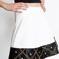 Dipped In Leather White Skirt