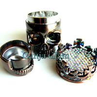 Herb Grinder, Skull King ,Crown Metal Grinder Bling Rhinestones