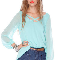 Double Bubble Top in Sky Blue :: tobi