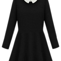 ROMWE | ROMWE Detachable Doll Collar Pleated Black Dress, The Latest Street Fashion