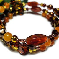 Bracelet Jewelry Multi Strand Memory Wire Brown Amber Copper Rust