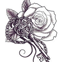 Temporary Tattoos and Fake Tattoos Flower and Key