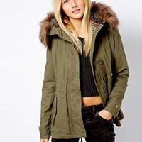New Look Hooded Parka With Fur Trim