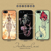 iPhone 5 case, iPhone 5C Case, iPhone 5S case Disney skeleton mermaid iPhone 4 Case Phone case, Samsung Galaxy S3, Samsung Galaxy S4, FA0331