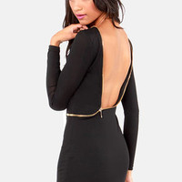 Let Her Zip! Backless Black Dress