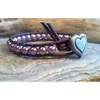 Leather Wrap Bracelet, Amethyst Pearl Bracelet