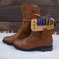 Revolver Camel Tribal Foldover Combat Boot-OUT OF BOX