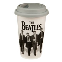 Vandor The Beatles 12-Ounce Double Wall Ceramic Travel Mug with Silicone Lid, Black and White