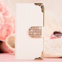 Shining Crystal Flip Wallet luxury PU leather case cover skin for iPhone 5 5G (White)