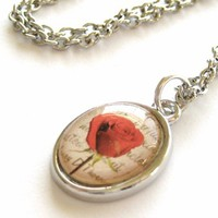 Red Rose Pendant Necklace with Beautiful Red Rose Photo Pendant from StarlightSarah