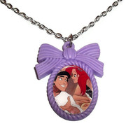 The Little Mermaid Necklace, Alternative Ariel and Prince Eric Lavender Cameo