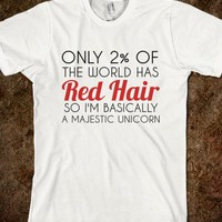 RED HAIR MAJESTIC UNICORN REGULAR T-SHIRT