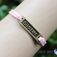 sister bracelet,engraved sister bracelet,cute bracelets,pink bracelet,best gift chosen 7 color for choose
