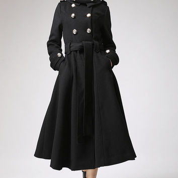 Black coat Cashmere coat Long coat Military Coat (709) Christmas Sales 10% Off