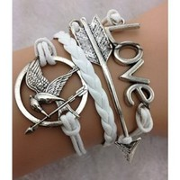 EmBest White Antique Silver Arrow Bracelet,Hunger Game Bracelet,Love Bracelet
