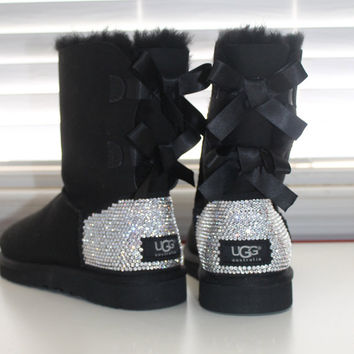 Women Ugg Australia Bailey Bow Boots made w Swarovski Crystal Elements Size 16ss ANY COLOR