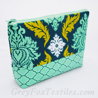 Turquoise, aqua blue, citron, and white damask print cosmetic case, makeup bag, zipper pouch, pencil case