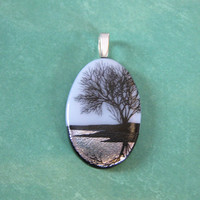 Tree of Life Pendant, Black, White and Silver Jewelry - Silver Reflections - 4560 -3