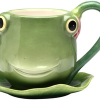 Appletree 3-7/8-Inch Ceramic Frog Cup and Saucer