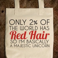 RED HAIR MAJESTIC UNICORN TOTE