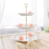 "3 Tier 12.6"" Cake Stand Heart Plate Centre Handle Fitting Hardware Rod,Golden/Silver"