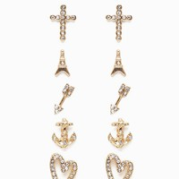 Eiffle Tower/Cross/Heart Rhinestone 6pr Multiple