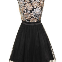 Glitzy Gold and Black Sequin Skater Dress - Party Dresses