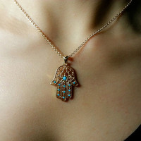 Necklace 040: Hand Necklace, Hamsa Necklace, Charm Jewelry Personalized Gift