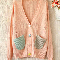 Contrast color cute V-NECK Fashion SWEATER KNIT CARDIGAN