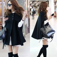 Elegant Womens Cloak Poncho Cape Coat Jacket Outwear Tops Pockets Buttons Lined