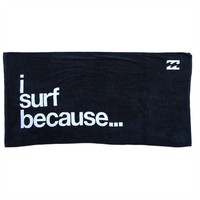 Billabong I Surf Because Bath Beach Towel Large Size 170*90cm Black