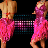 Feathered Salsa Vegas Dance Dress Dance costumes, Costume dresses [D23A] - $390.00 : Latin dance wear, ballroom dance shoes, latin dance skirts & Salsa dresses.