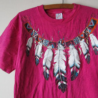 90s Native American Inspired Fuchsia Tye-Dyed Crackle Hot Pink T-Shirt -- Funky Southwestern Tribal Hipster Fashion